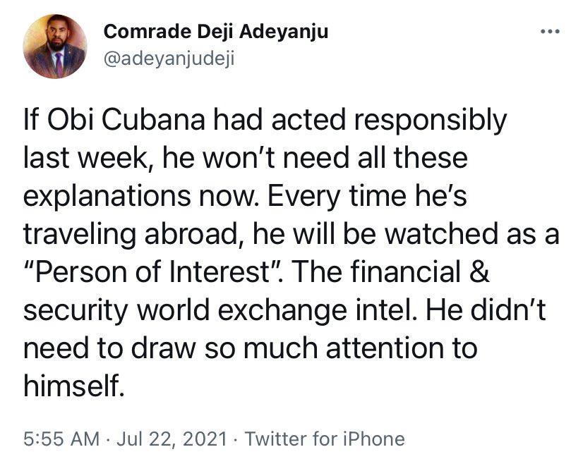 Deji Adeyanju Obi Cubana Responsibly Explanations Mother's Burial