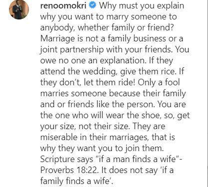 """""""Only a fool marries someone because their family & friends like the person"""" - Omokri"""