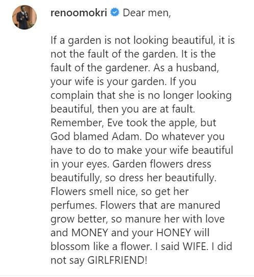 """""""It is your fault if your wife is no longer looking beautiful"""" - Reno Omokri"""