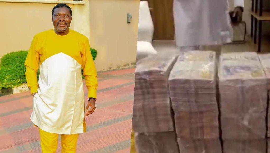 Kanayo O. Kanayo shows off stash of money meant to be lavished at Obi Cubana's mother's burial (Vidoe)