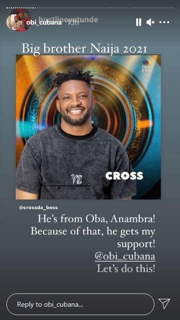 Obi Cubana Cross BBNaija Season 6 Support