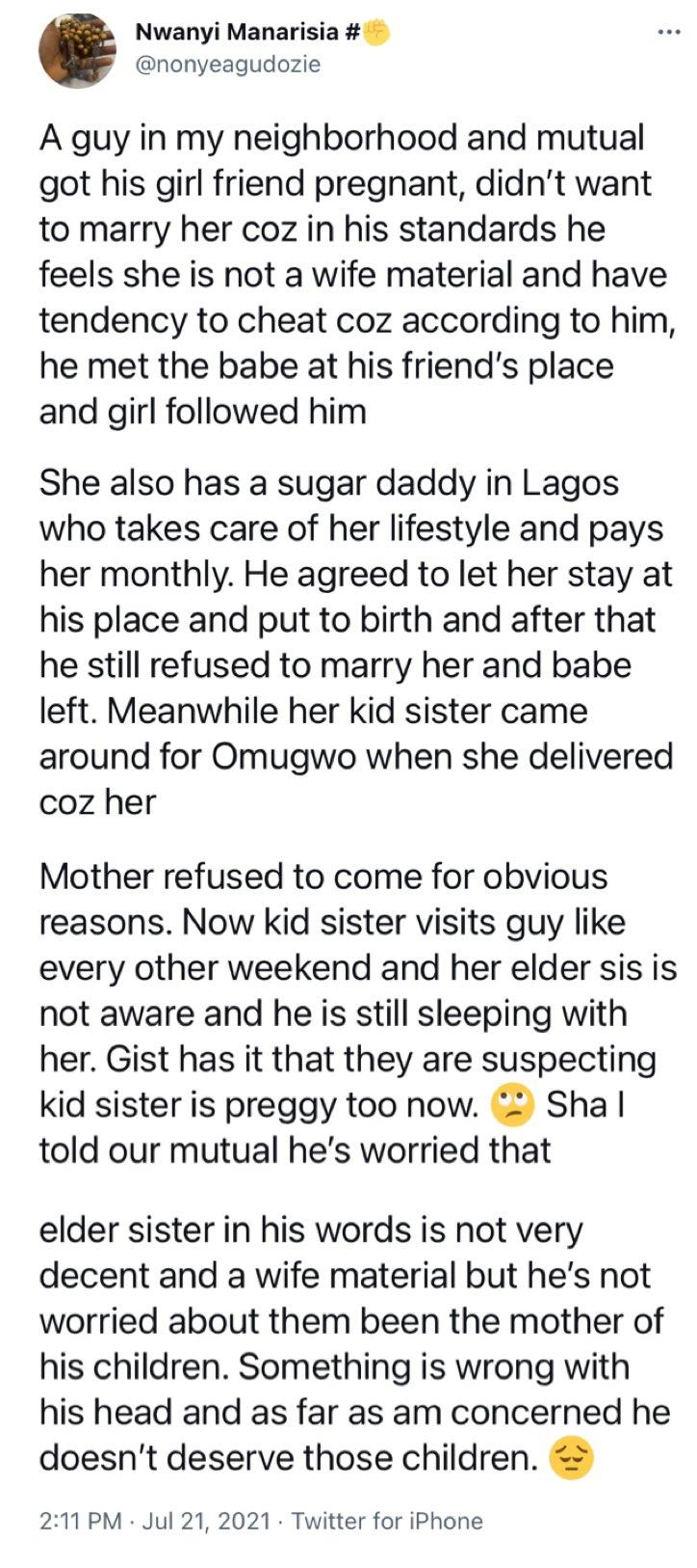 Lady narrates how man got two siblings pregnant