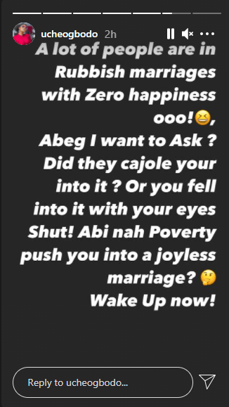 UChe Ogbodo Marriage Joyless