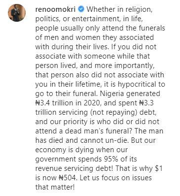 """""""It is hypocritical to attend funeral of those you did not associate with when alive"""" - Reno"""