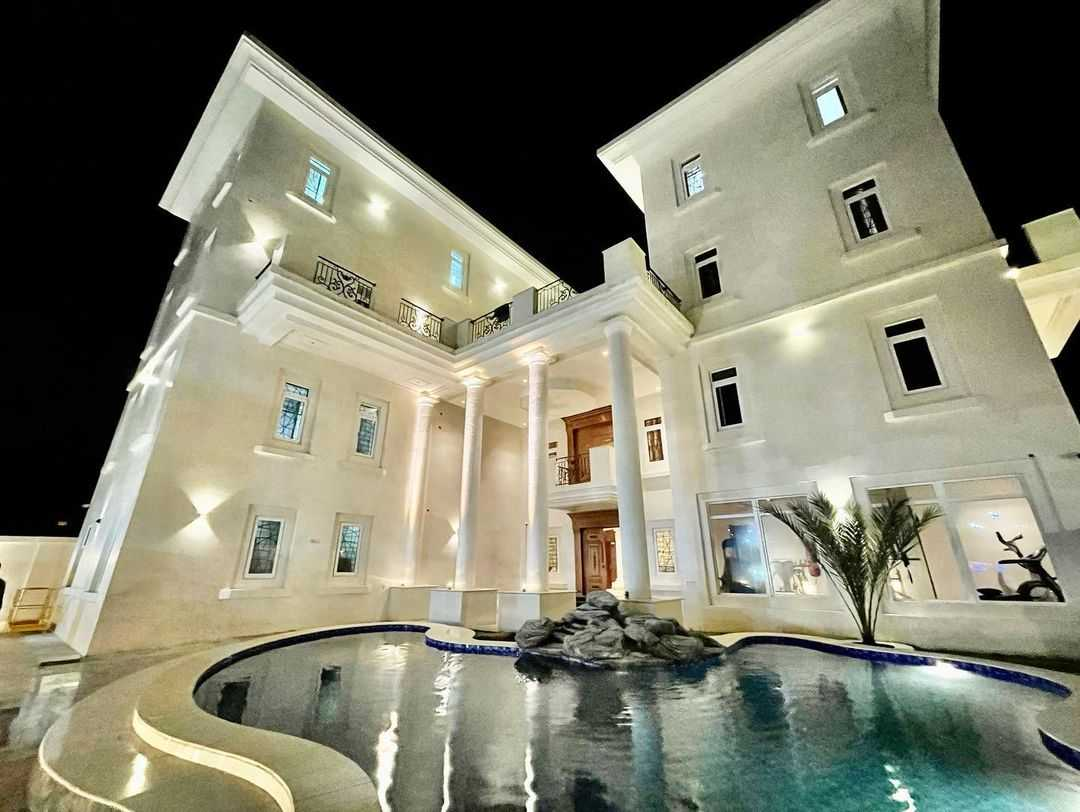 Front and rear view of Obi Cubana's mansion in Abuja