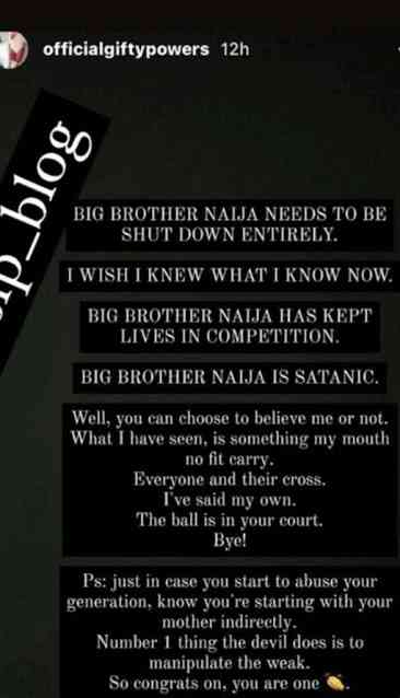 """BBNaija is satanic, it needs to be shutdown entirely"" — Ex-BBNaija housemate, Gifty Powers"