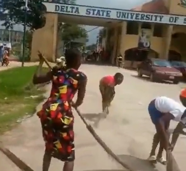 Delta Polytechnic students rejoice over exit of Rector by sweeping main gate (Video)