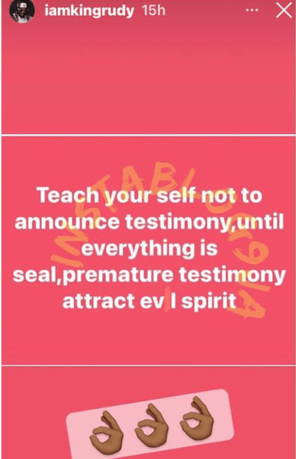 Do not give testimony until everything is done, it attracts evil spirit