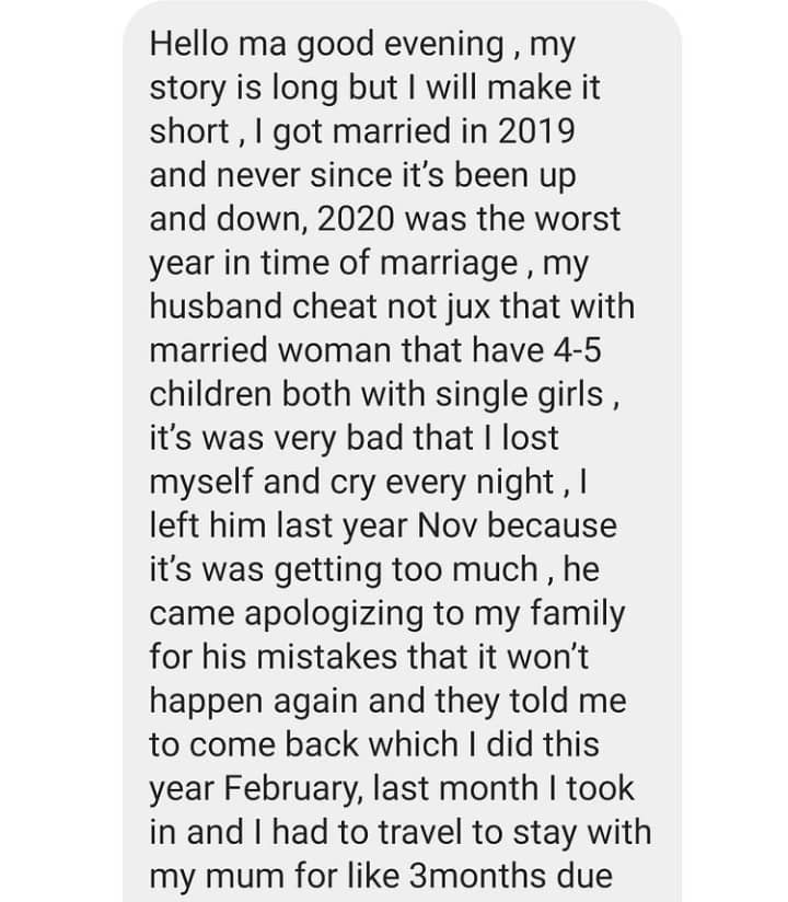 Lady narrates how her husband cheated on her while she was in the hospital battling for her life