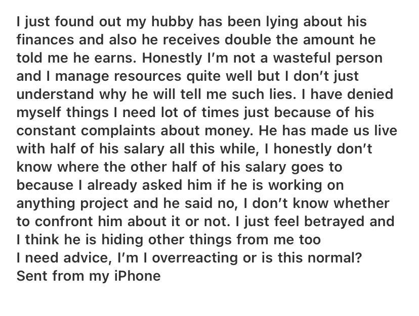 Woman laments after finding out that husband makes twice the salary he claimed to earn