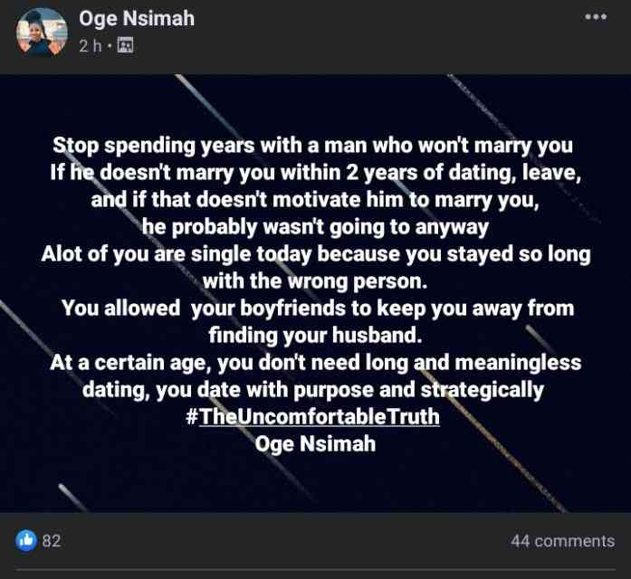 """""""If he does not marry you within two years of dating, dump him"""" - Lady advises"""