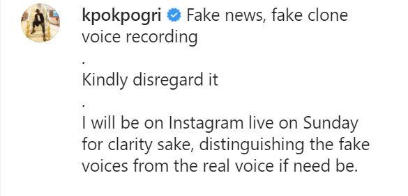 Tonto Dikeh's lover, Prince Kpokpogri debunks leaked audio
