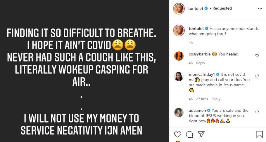 Actress Tonto Dikeh raises alarm over breathing difficulties