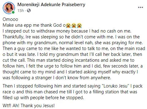 Lady narrates how suspected kidnapper used incantation to make her follow him