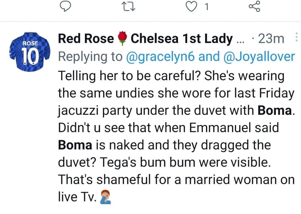 Viewers of the Big Brother Naija 'Shine Ya Eye' reality show express dissatisfaction at the activities involving a married housemate, Tega, and a fellow housemate, Boma.