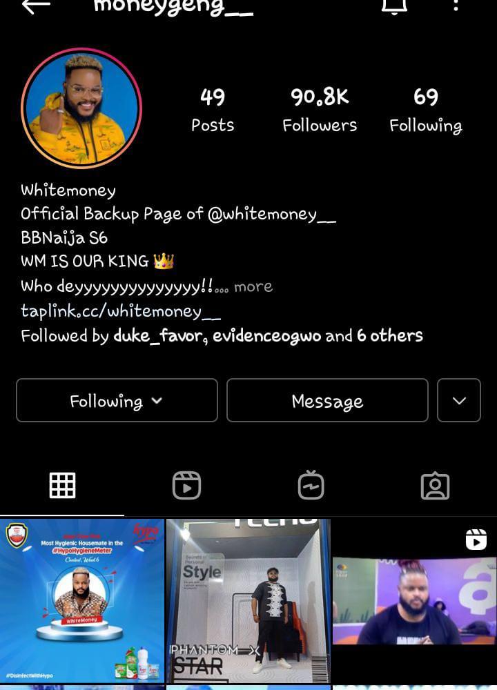 Whitemoney Instagram page