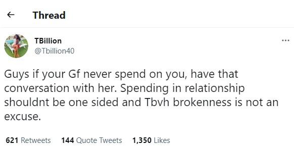 Twitter Girlfriend Spend Relationship