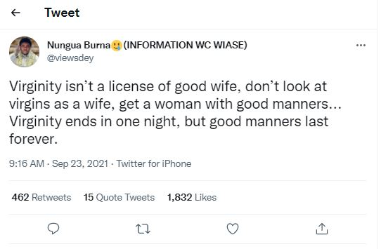 Virginity wife material