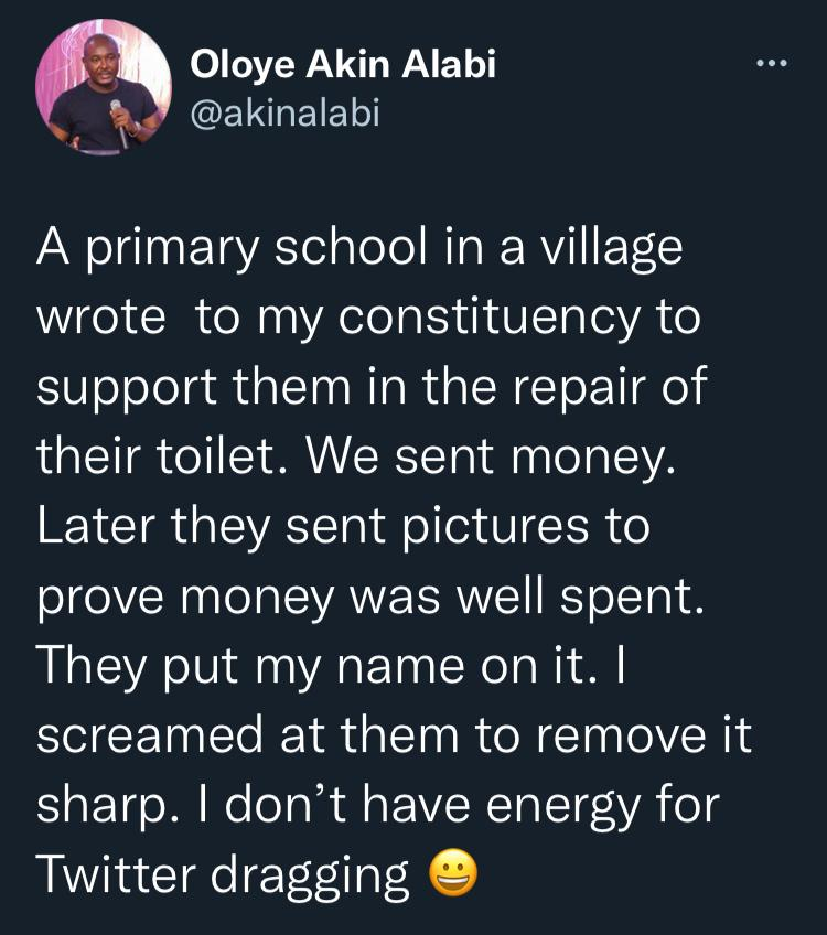 Akin Alabi narrowly escapes internet trolling like Desmond Elliot once faced over 'toilet project'