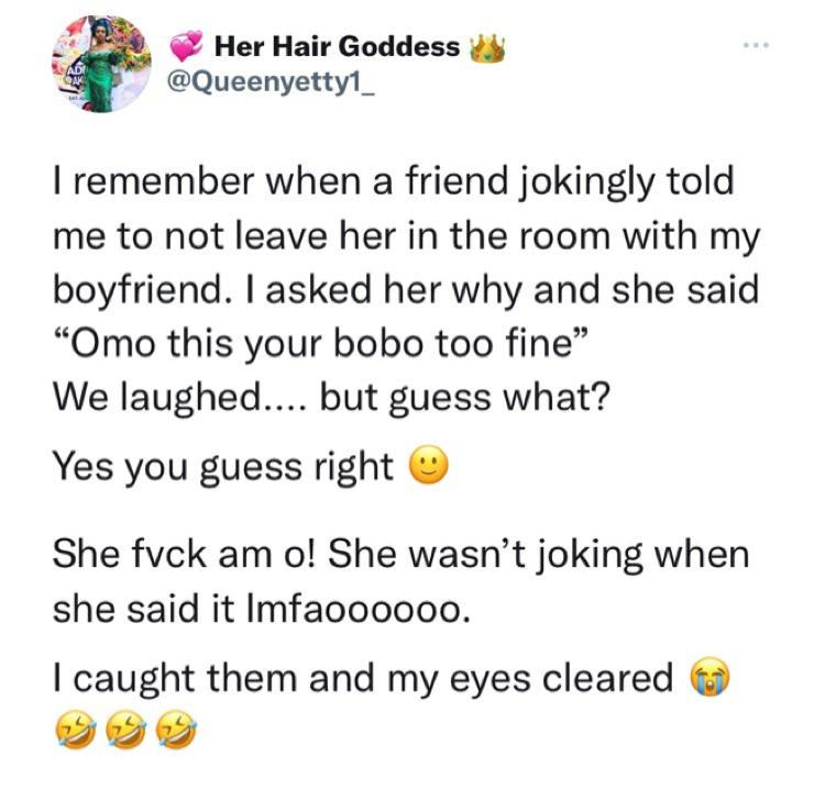 Twitter Boyfriend Slept Friend