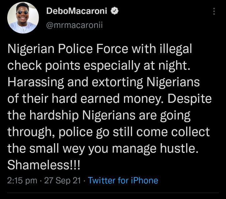 Debo Macaroni police extortion