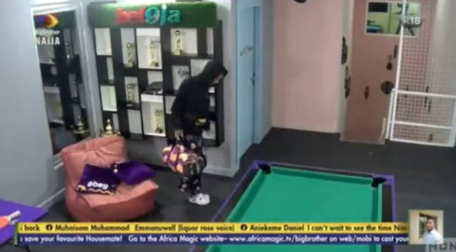 #BBNaija: Saga's epic reaction after Nini returned to the house following disappearance (Video)
