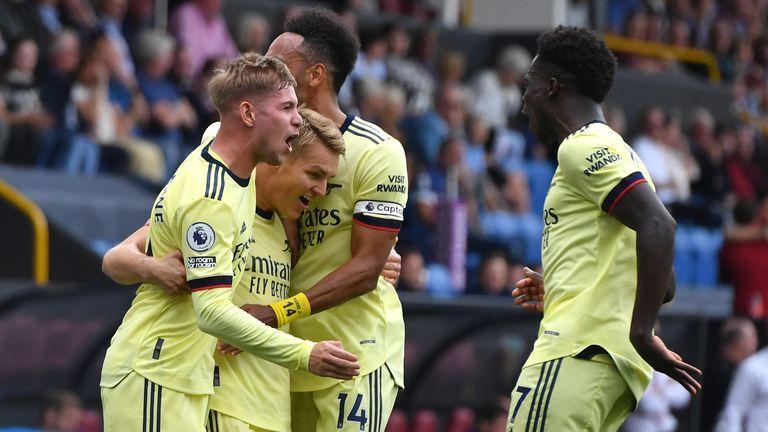 Martin Odegaard celebrates goal with Arsenal teammates