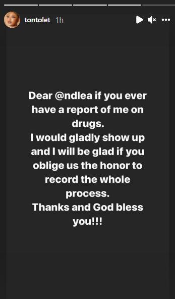 Tonto Dikeh Drugs NDLEA