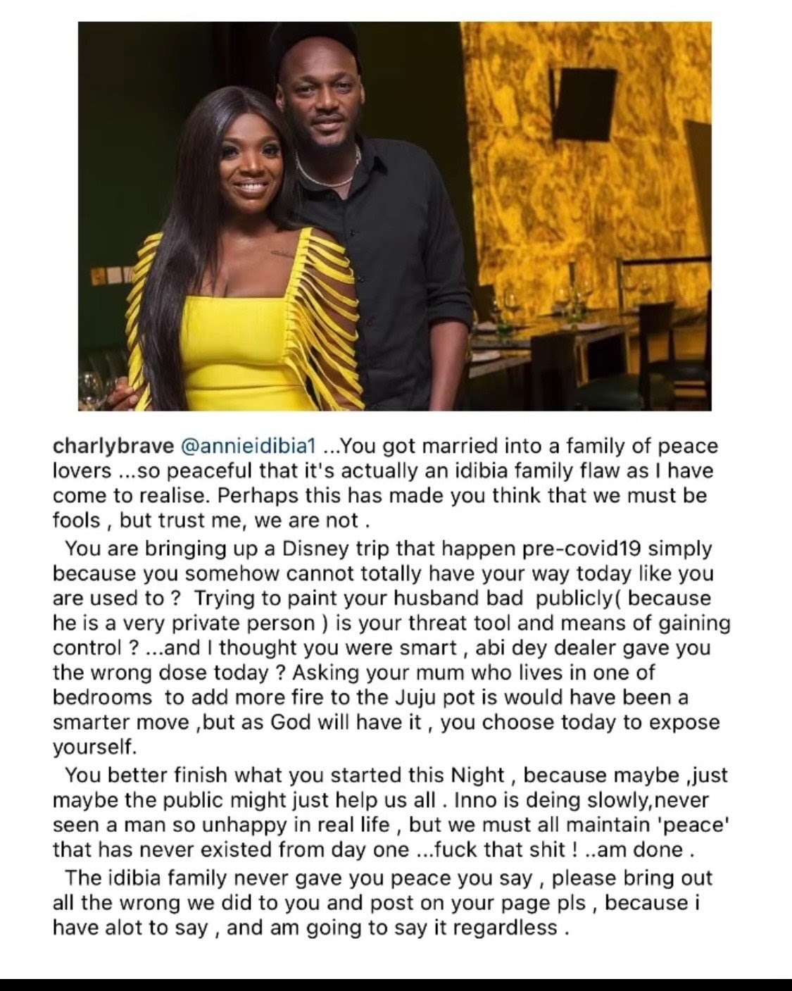 """""""You think we are fools, Tuface is dying slowly and unhappy"""" - Brother reacts after Annie Idibia's outburst"""