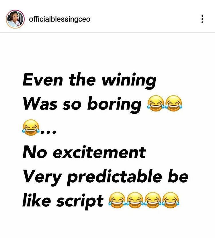 "#BBNaija: ""WhiteMoney's win is boring and scripted"" - Blessing Okoro"
