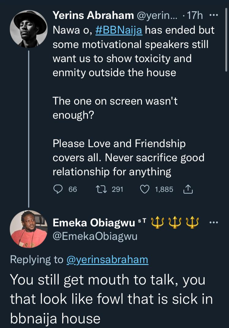 BBNaija's Yerins carpets troll who ridiculed him for preaching against toxic behavior to housemates