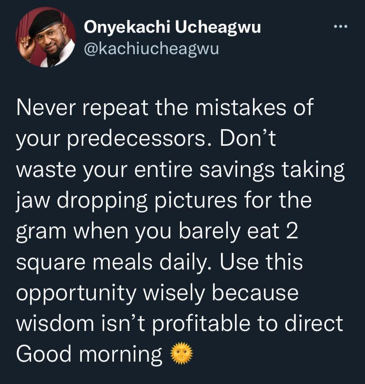 """Don't waste money on photoshoots when you barely eat twice daily"" - Kachi to BBNaija graduates"