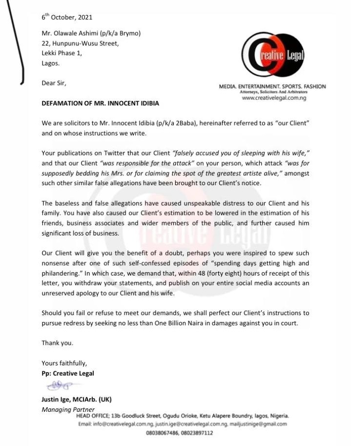 2Face Idibia files N1Bn defamation lawsuit against Brymo over allegations against him