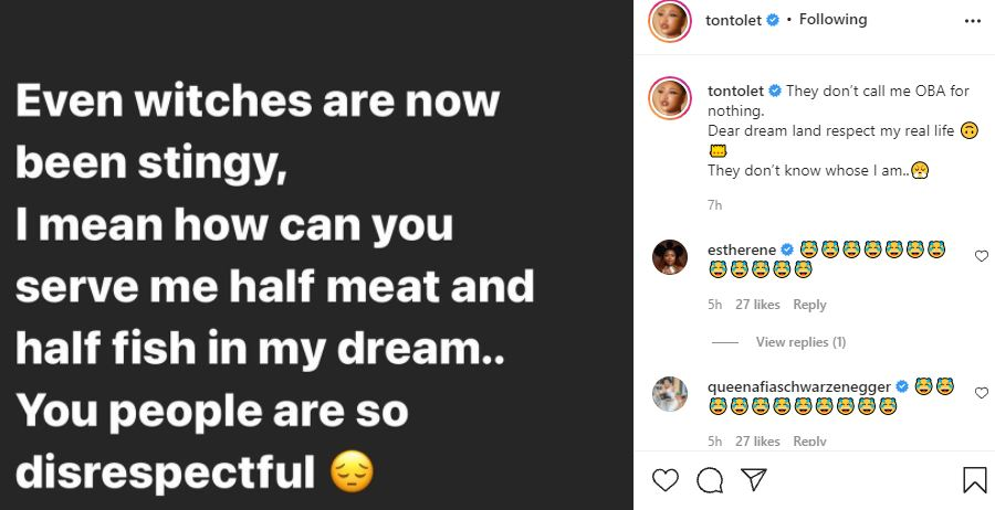 Actress, Tonto Dikeh calls out witches after having dream considered as disrespectful