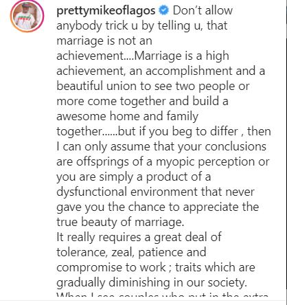 """""""Marriage is an achievement and a high accomplishment"""" - Pretty Mike opines"""