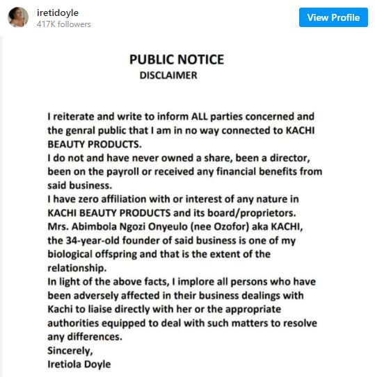 """""""Involve the appropriate authorities"""" - Actress, Ireti Doyle opens up following fraudulent accusations against daughter"""